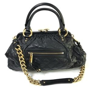 MARC JACOBS Black Leather Quilted Stam Bag NEW